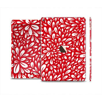 The Red Vector Floral Sprout Skin Set for the Apple iPad Air 2