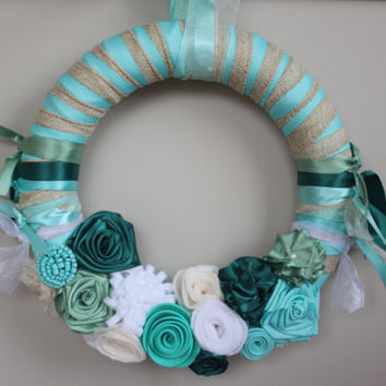 Teal wedding decorations, Wreath, Wedding Wreath, Teal Wreath, Wedding decor, Spring Wedding, Rustic Wedding Wreath, Rustic decor, gift