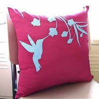 Hot Pink Hummingbird with Eucalyptus 16 inches Square Pillow