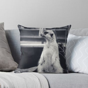 'The Observant Meerkat' Throw Pillow by timeslides
