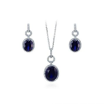 12.2TCW Oval Cut Halo Sapphire Blue Russian Lab Diamond Solitaire Earring & Pendant Set