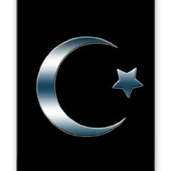 Star and Crescent Religious Muslim Smokey Chrome Symbol iPhone 4 Quality Hard Snap On Case for iPhone 4 4S 4G - AT&T Sprint Verizon - Black Frame