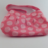 Pleated Pink and White Dotted Small Purse Handbag Buttercup purse Unique Spring bag