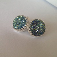 "Teal Rainbow Titanium Druzy Cabochon ""Crowned with Glory"" Sterling Silver Earrings"
