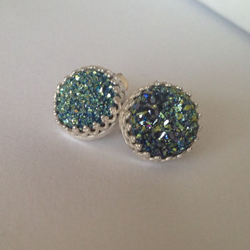 """Teal Rainbow Titanium Druzy Cabochon """"Crowned with Glory"""" Sterling Silver Earrings"""