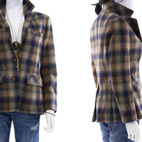 Plaid Blazer VIntage 1970s Fitted Wool Office Dress Jacket Womens Size Small