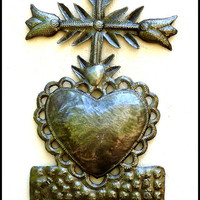 Metal Art Cross - Sacred Heart of Jesus Metal Wall Hook - Haitian Recycled Steel Drum Metal Wall Art - Christian Wall Decor - 2009-HK