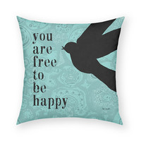 You Are Free To Be Happy 18 x 18 Cotton Pillow Pink Black Bird Blue Skies