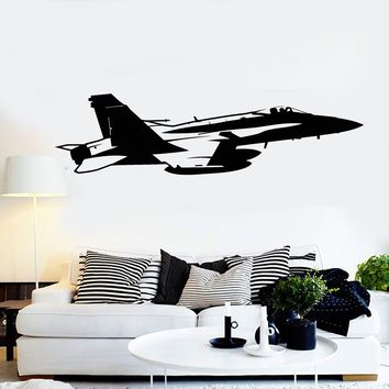 Vinyl Wall Decal Fighter Jet Aircraft Military Aviation Boy Room Stickers Unique Gift (ig4247)