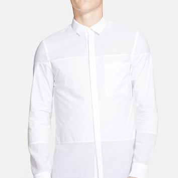 Men's Helmut Lang Trim Fit Paneled Cotton Gauze Shirt
