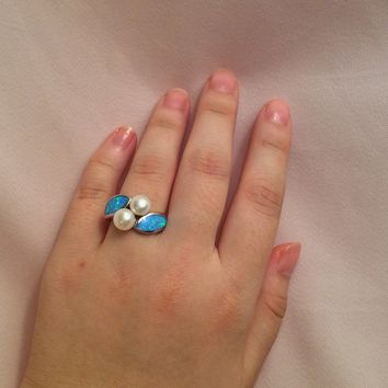 Australian Fire Opal and Genuine Pearl Ring