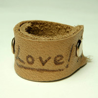 leather love rings  cow leather love word ring by keoops8 on Etsy