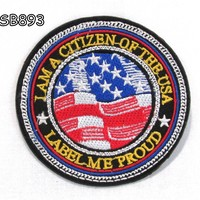 I MA THE CITIZEN OF THE USA Iron on Small Patch for Biker Vest SB893