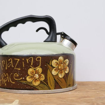 Tea Kettle Country Home Decor Hand Painted Light Green Tea Kettle Rustic Decor Amazing Grace Spring Decor Light Green Tea Pot Kitchen Decor