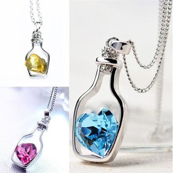Fashion Ladies Love Drift Bottle Pendant Necklace