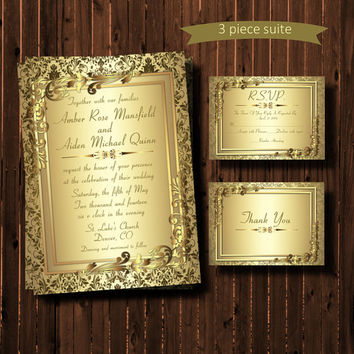 Printable Wedding Invitation Suite-Gold Damask-Metallic-Formal-Elegant-Flourish-Scroll-DIY-Cards-Christmas