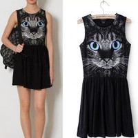 Blue Eyes Cat Dress for Women TYI501