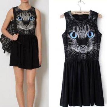 Blue Eyes Cat Dress for Women ORB5