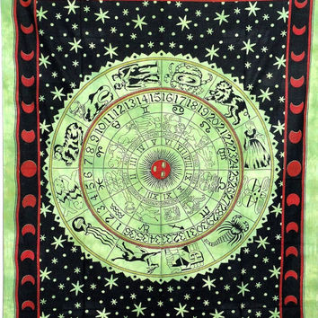 Green zodiac wall tapestry,Indian horoscope wall hanging ,bohemian tapestry, Indian horoscope tapetsry,twin beach throw ,Bedspread ,throw