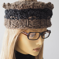Charcoal chunky knit hat / Gray knit crown / Taupe crochet hat / Light brown crochet hat / OOAK hat / Woman winter hat / Teen girl hat