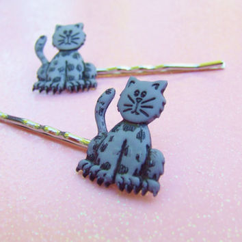 Grey Alley Cat  Bobby Pins - Plastic Bobby Pins - Kitty Cat Lover - Kitten Hair Clip - Kitty Cat Bobby Pins - Hair Accessories