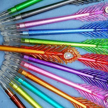 FINGON 12 color peacock feathers drill neutral pen