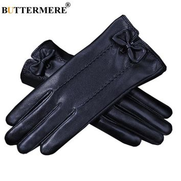 BUTTERMERE Women Leather Gloves Touchscreen Black Ladies Winter Leather Gloves With Fur Inside Bow Warm Female Glove For Driving