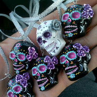 Dia de Los Muertos Jewelry, Necklace, Day of the Dead Sugar Skull with Roses, Wedding,  Halloween Costume, Steampunk