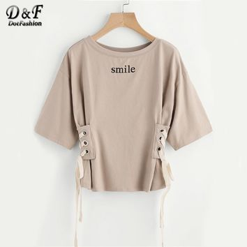 Drop Shoulder Grommet Lace Up Side Tee Summer Smile Printed Half Sleeve Casual T-shirt