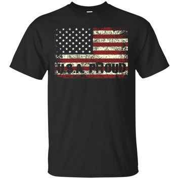 Faded Grunge American Flag USA Proud Distressed 4 July Shirt_Black