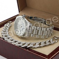 Hip Hop 14K White Gold PT Freemason Watch Cuban Chain Bracelet Set F44S