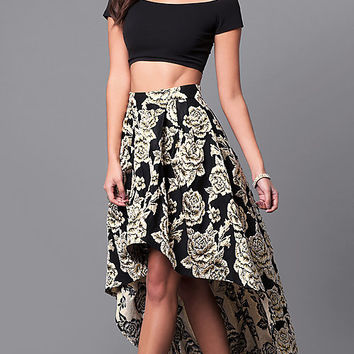 Black and Gold Print High-Low Two-Piece Prom Dress