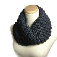 Outlander Inspired Cowl, Bulky Cowl, Gray Cowl, Hand Knit Scarf, Knit Scarf, Winter Scarf, Charcoal Scarf,  Circle Scarf, Neck Warmer