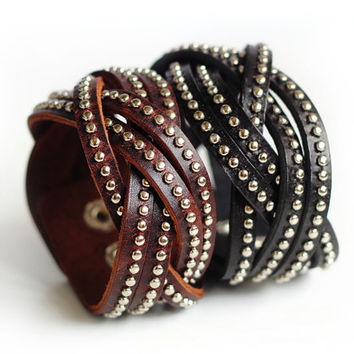 Genuine Leather Studded Silver Rivets Weaving Wrap Bracelet