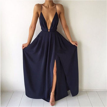 ♡ Split Maxi Dress Dark Blue Deep V neck Evening Party Dress ♡