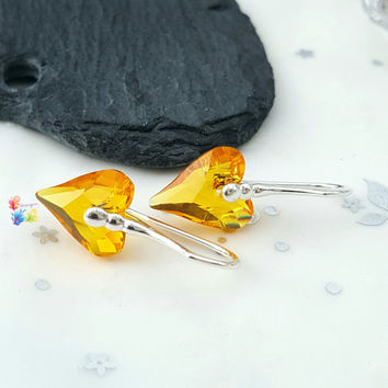 Sunflower Crystal Wild Heart Earrings, Sterling Silver Earrings, Crystal Jewellery, Gift for Her, Crystal Earrings, Golden, girlfriend