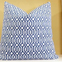 Royal Blue and white decorative pillow - interlocking links pillow - All Sizes available - Decorative fabric both sides