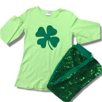Girl's Sequined Shamrock Outfit 8-9 Years