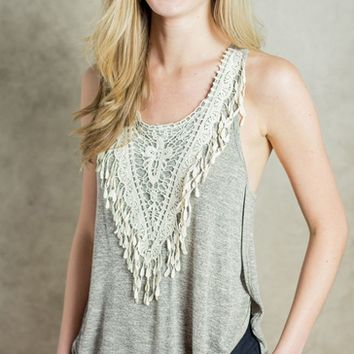 Lace Patchwork Round Neck Tank Top