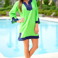 The Jackie Tunic, Green/Navy/White