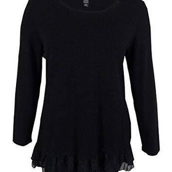 Style amp Co Womens Plus Long Sleeves Lace Trim Tunic Top