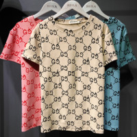 GUCCI Fashion Women Summer New Round Neck More Letter Loose Short T-Shirt top three colors
