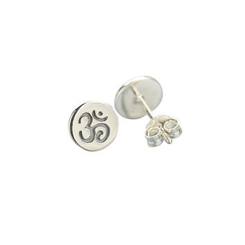 Sterling Silver Om Disk Post Earrings