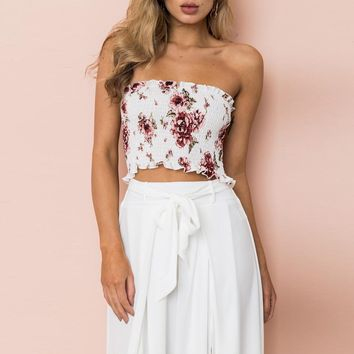 Sexy Women Print Floral Strapless Tube Top
