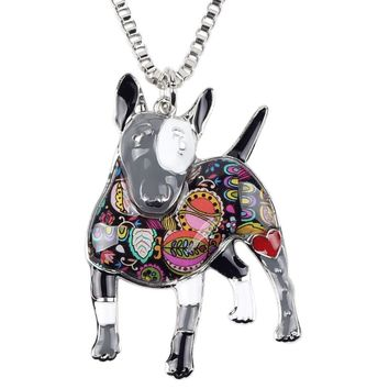 Awesome Colorful Gray/Black Paisley Print Enamel Pit Bull Terrier Dog Pet Pendant Charmt Necklace with Silver Box Chain