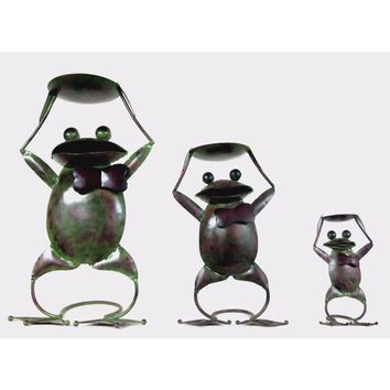 D Art Collection Antique Iron Frog Candle Holder (set of 3 pcs: Large, Medium, Small)