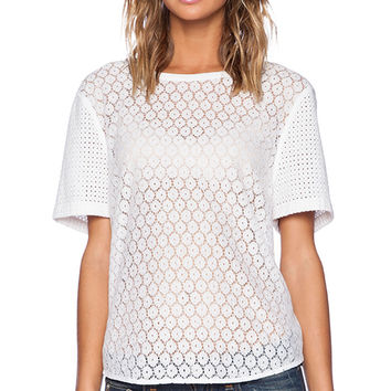 Equipment Riley Geo Lace Tee in White
