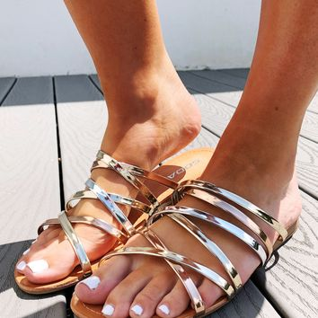 Make It Pop Sandals: Gold/Multi