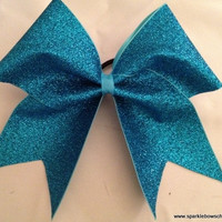 Aquamarine Blue Glitter Cheer Bow Hair Bow Cheerleading