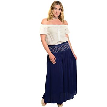 Plus Size High Waist Lightweight Maxi Skirt With Embroidered Detail
